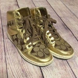 Coach gold brown sneakers 7.5 women's shoes